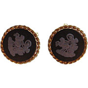 SALE Vintage Wedgwood Genuine Incolay Cameo Woman Figural Chariot Horses Cufflinks Signed