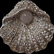 "SALE Vintage BELLINI Clam Faux Pearl Moonstone Rhinestone ""BEAUTIFUL""  Pin Brooch"
