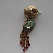 "SALE Vintage Napier Bird Figural ""RARE"" Dangles Art Glass Belly Signed Pin Brooch"