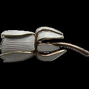 Vintage Aksel Holmsen Norway Enamel Sterling Silver Floral  Rose Enamel Pin Brooch