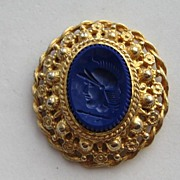 "Vintage Castlecliff  Intaglio ""ROYAL BLUE"" Roman Warrior Helmet Head Pin Brooch Pend"