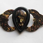 "SALE Vintage ANKA Lucite ""HUGE"" Wings Heart Plastic Brooch Pin"