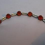 Vintage Art Deco Carnelian Bracelet Sugar Loaf Cabochons Signed
