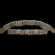 SALE Vintage Napier Floral Slide Cut Crystal  Beads Gold Tone Necklace Bracelet Set