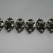 """Vintage Mexico Taxco """" PUFFY """" 3-D Bracelet Silver Jade Cabochons"""