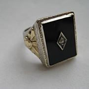 Vintage Art Deco Diamond Onyx 14K  White Yellow Gold Filigree Cocktail Ring Vintage Estate Old