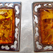 Vintage Modernist Amber Sterling Pierced Earrings Silver ca 1960s