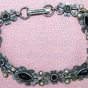 Vintage Florenza Silvertone Flower Bracelet pre 1955