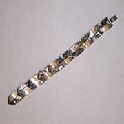 Taxco Modernist Abalone Paua Sterling Silver Chevron Bracelet Mexico