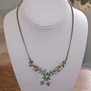 Aquamarine White Rhinestone Pendant Necklace Goldtone 1950s