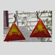 Enameled Copper Modernist Abstract Triangle Clip Back Earrings Red Yellow