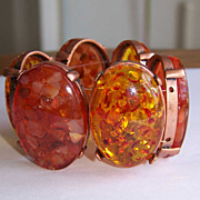 Faux Amber Confetti Lucite Stretch Bracelet Chunky