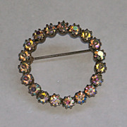 SALE Vintage Silvertone AB Circle Pin Brooch circa 1960 Prong Set Aurora Borealis   Mothers Da