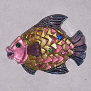 Figural Lucite Fish Pin Brooch Vintage Book Piece