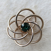 SALE Vintage Atomic Twisted Knot Swirl Pin Brooch Green Goldtone
