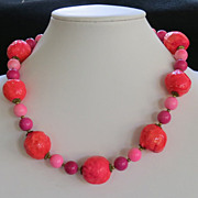 Vintage Neon Mod Paper Mache Necklace Hot Pink Orange Beads
