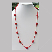 Vintage Orange Beaded Ball Glass Necklace 42 inches