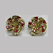 Lisner Red Rhinestone Goldtone Clip Earrings