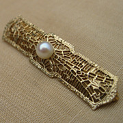 Vintage Gold Plated Filigree Cultured Pearl Bar Pin Brooch