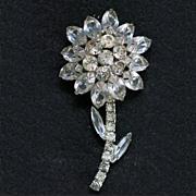 Vintage Rhinestone Silvertone Flower Brooch Unsigned Beauty 3 inches