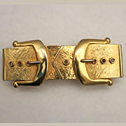 Mimi Di N Gold Plated Figural 2-part Belt Buckle 1988