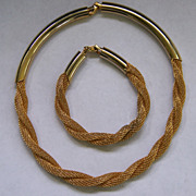SALE Hobe Braided Twisted Mesh Demi Goldtone Parure Necklace Bracelet Set Vintage Valentine Gi