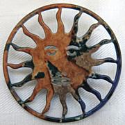 Mottled Enamel Sun Pin Brooch Summer Sun Age of Aquarius