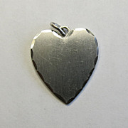 Sterling Silver Wells Heart Charm Fancy Edge Mothers Day Gift