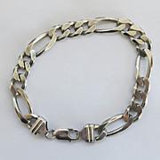SALE Vintage Sterling Mens Figaro Link Bracelet 9 inches Silver  26.5g