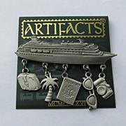 Jonette Cruise Ship Pin Brooch 5 Figural Charms Original Card