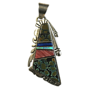 SALE Navajo Cecil Ashley Sterling Silver Pendant Brown Spider Web Turquoise Inlay  Valentine G
