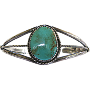 Native American Sterling Silver Turquoise Cuff Bracelet Copper Matrix