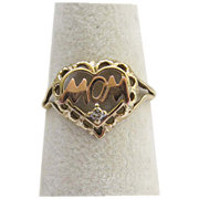 SALE 10K Rose Yellow Mom Heart Ring Size 7.5 Gold Valentine Gift