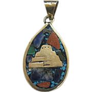 SALE Mexico Sterling Turquoise Goldstone Mosaic Pendant Reversible