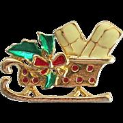 Figural Enamel Goldtone Christmas Sleigh Brooch Pin Teacher Gift