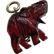 Amber Lucky Elephant Charm Pendant Authentic Cherry Red Carved