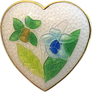 SALE Vintage Figural Heart Enamel Pin Daffodils Mothers Day Gift