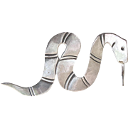 Sterling Navajo RMJ Snake Pin Brooch Native American Rattlesnake
