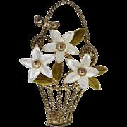 Sterling Vermeil Enamel MOP Figural Basket Pin Brooch Creed Mother of Pearl Flowers
