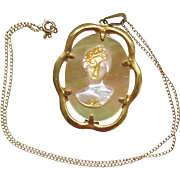 Vintage MOP Cameo Gold Filled Pendant Necklace Mother of Pearl GF