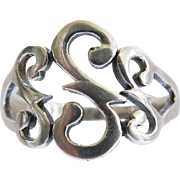 SALE Sterling Initial S Ring Size 9 Silver Fancy Scroll