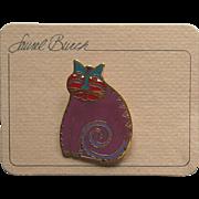 Laurel Burch Mythical Cat Pin Unused Vintage Brooch Original Card