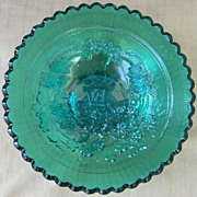 """Imperial Teal 7"""" Carnival Glass Windmill Bowl"""