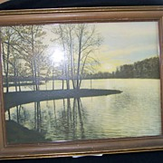 David Davidson Hand Tinted Photograph Sunset Point Rhode Island