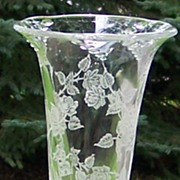 Heisey Rose Etch Flower Vase in Waverly Shape