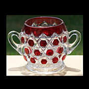 EAPG Red Block Beveled Buttons Ruby Stained Open Sugar Bowl