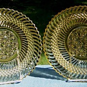 SOLD Pair of Jersey Swirl Yellow EAPG Plates by Windsor, ca. 1896