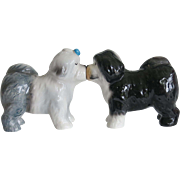 Vintage Kissing Old English Sheepdog Shakers Salt Pepper Set Sheep Dog