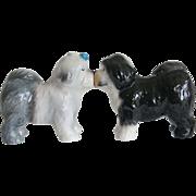 Vintage Kissing Old English Sheepdog Shakers Salt Pepper Set Sheep Dog