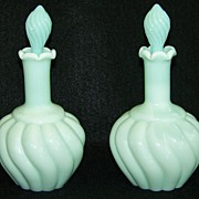 2 Fenton Vintage Swirl Perfume Bottles Green Pastel 7005   ca 1954-55